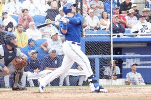 Holy Smoak! Justin hit a homer! Justin Smoak watches the towering flight of Bruce Rondon's 3-2 offering in the home half of the fifth to complete the scoring as the Blue Jays beat the Tigers 4-1 in five innings. (EDDIE MICHELS PHOTO)