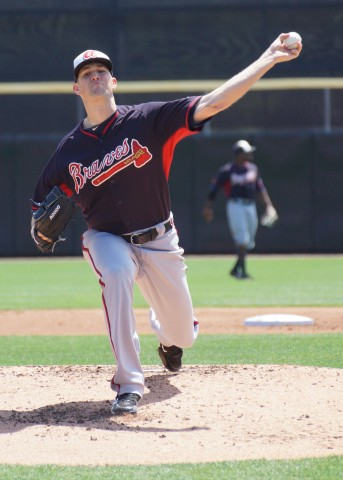 Braves starter Alex Wood threw six innings allowing three runs on seven hits, walking one and striking out two but was not involved in the decision of the 5-3 win over the Blue Jays. (EDDIE MICHELS PHOTO)