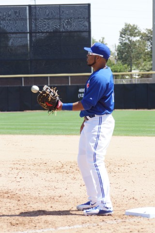 Blue Jays first sacker Edwin Encarnacion (back) took the field for the first time this spring anchoring down first base on Saturday against the Braves.   Encarnacion went 1-3 during his squads 5-3 loss. (EDDIE MICHELS PHOTO)