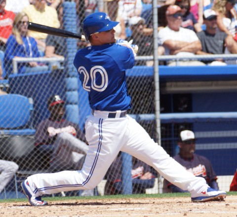 Josh Donaldson singles to right for one of the Jyas nine hits (EDDIE MICHELS PHOTO)