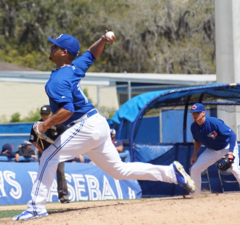 Prospect Roberto Osuna had a rough outing on Saturday during the Blue Jays 5-3 loss to the Braves.  In relief Osuna lasted just 1/3 of an inning allowing one run on three hits while walking one and striking out one. (EDDIE MICHELS PHOTO)
