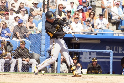 Pirates shortstop Kung, Jung Ho hit his first major league spring training home run in the top of the third on Tuesday.  His solo shot on an 0-2 offering from Blue Jays reliever Marco Estrada put the Pirates up 6-0 in route to a 8-7 Grapefruit win. (EDDIE MICHELS/PHOTO)