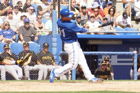 Blue Jays leftfielder Kevin Pillar erased part of a six run deficit in the home half of the his first homer of the spring, a two run shot to left on a 1-2 pitch from Pirates reliever Stolmy Pimentel (EDDIE MICHELS PHOTO)