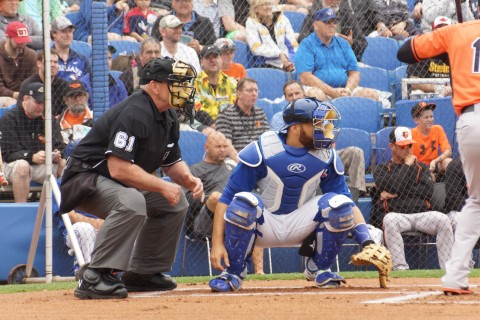 "Plate umpire Bob Davidson ask Toronto catcher Russell Martin prior to catching RA Dickey's first pitch of the game, ""Ever catch a knuckle ball?""  No response was heard. (EDDIE MICHELS PHOTO)"