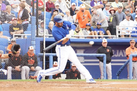 Chris Colabello hits homer off Orioles starter Mike Wright (EDDIE MICHELS PHOTO)