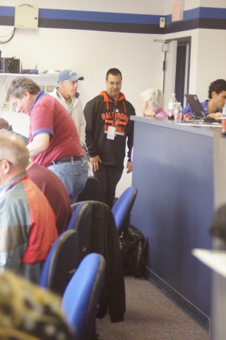 Orioles GM  Dan Duquette avoided speaking with the Toronto media and went directly to the assembled Baltimore media in the press box. (EDDIE MICHELS PHOTO)
