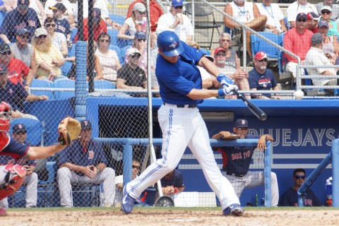 Blue Jays first baseman Danny Valencia hits his first homer of the spring in the bottom of the fourth on Thursday. (EDDIE MICHELS PHOTO)