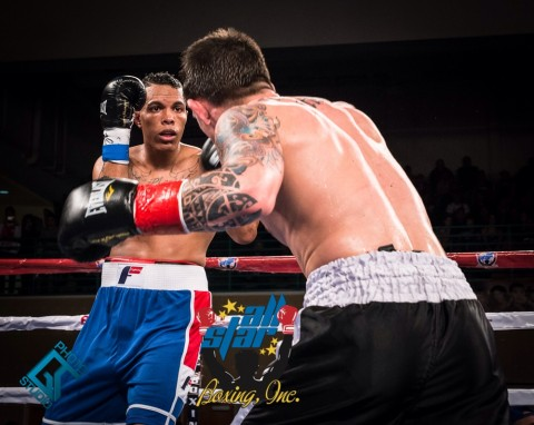 In the opening bout of the night undercard action Super Welterweight Fernando Martinez (1-0) scores a unanimous decision in his professional debut fight punching enough to finish off tough Anthony Way (0-2) judges scores 39-37,36-99 & 38-37 in favor for Martinez. (photo ANGEL TORRES)