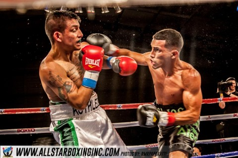 "Bantamweight Alcides Santiago (5-1, 4 KO's) defeated local fighter Toribio ""Ruthless"" Ramirez (3-2, 1 KO) with a shocking left hand that floors Ramirez out at 2:55 of round three, Ramirez elected to go right into war the first two rounds against Santiago out working him in the first then bringing competitive combat in round two, Santiago made it known he came to fight meeting Ramirez in the exchange of fire in round three earned the KO of the night. (photo by Robert Richards)"