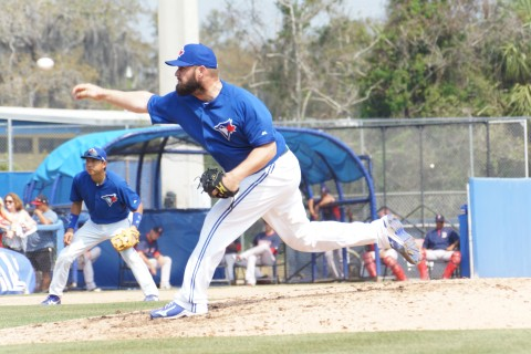 The Blue Jays Todd Redmond of St. Pete tossed a scoreless eighth on Thursday against the Red Sox allowing two hits and striking out one.  Redmond played his college baseball at St. Petersburg Jr. College and was drafted by the Pittsburgh Pirates in the 2004 amateur draft. (EDDIE MICHELS PHOTO)