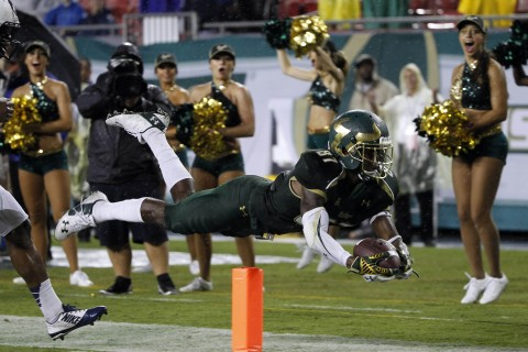 TOUCHDOWN BULLS!  Rodney Adams scores last season vs. UCONN  (photo USA TODAY Sports / Kim Klement)