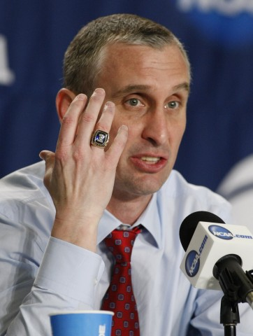 Bobby Hurley speaks at a press conference after the game in the 2015 NCAA Tournament at Nationwide Arena. West Virginia won 68-62. (photo USA TODAY Sports / Joe Maiorana)