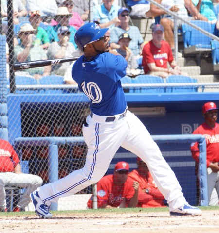 Edwin Encarnacion liked the first offering he saw in the first inning from the Phillies Sean O'Sullivan and sent it sailing over the batters eye in center as the Blue Jays took their final home spring game 10-6 over their cross town rivals. (EDDIE MICHELS PHOTO)
