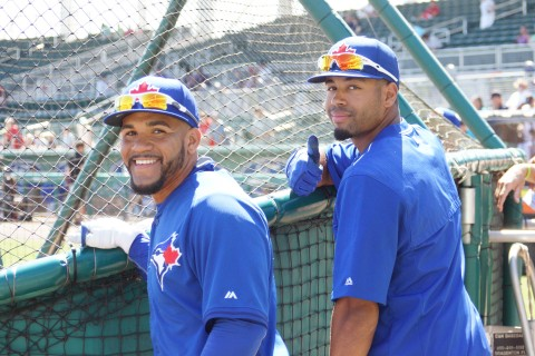 Devon Travis and Dalton Pompey (EDDIE MICHELS PHOTO)