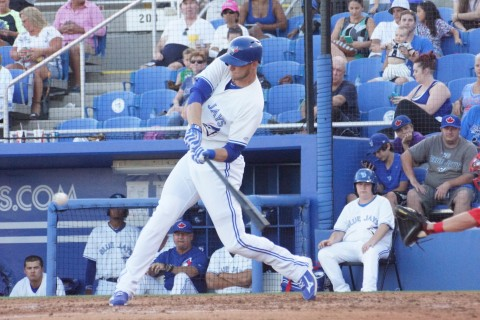 lue Jays outfielder Michael Saunders (left knee) singles to right in his second rehab game for Class-A Dunedin on Friday.  Saunders DH'ed for the second game in a row going 2-4 with a double.  It's not known when he will play in the field. (EDDIE MICHEL PHOTO)