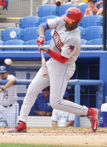 (April 2015) Dominic Brown (right achilles strain) homered on the first pitch he saw in the third inning for the first hit during his rehab assignment with Class-A Clearwater against Dunedin. According to the stadium announcer's announcement as Brown came to the plate he had struck out in four of his five previous rehab appearances. (EDDIE MICHELS/PHOTO)