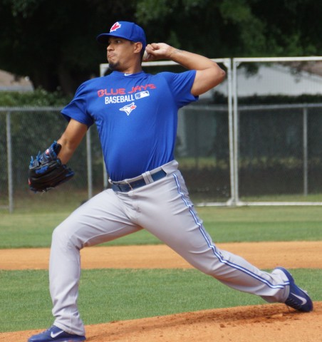 Felix Doubront faced live hitters for the first time as a Blue Jay and reported no problems for his 30-pitch outing on the infamous Field One at the Mattick Complex. (EDDIE MICHELS PHOTO)