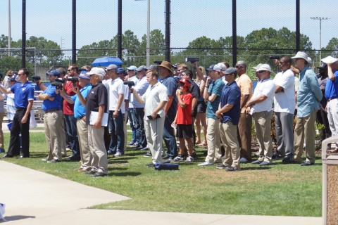 A crowd of close to 60 scouts just in this photo taking readings of Soroka's pitches (Eddie Michels Photo)