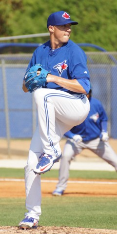 "Blue Jays fifth starter Aaron Sanchez tossed three shutout innings in his final tune up for the regular season on Sunday.  ""Good, it's exactly what I needed going into the season,"" said Sanchez, ""I felt on top of my game and did some things out there I wanted to accomplish.  I feel strong going into the year.""  As to his first regular season start in five days Sanchez said, ""I'm ready to go, I am excited.  We have a chance to do a lot of good things this year so to be a part of that I am ready to go.""  Sanchez threw his three innings against Triple-A Buffalo, pitching for Double-A Hew Hampshire. (EDDIE MICHELS PHOTO)"