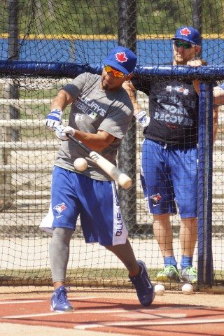 Blue Jays 2B Maicer Izturis (groin) takes batting practice at the team's Mattick Complex.  On the 15-Day DL Izturis doesn't know exactly when he will start a rehab assignment  (EDDIE MICHELS PHOTO)