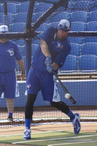 Toronto Blue Jays left fielder Michael Saunders (left knee) takes batting practice Thursday afternoon in preparation for his first rehab game with Class-A Dunedin against Clearwater in Clearwater.  Saunders tore his left meniscus on February 25th when he stepped on a sprinkler head shagging balls at the team's Mattick Complex Field One.  He is scheduled to DH on Thursday and play in the field on Friday when the same two teams play in Dunedin. (EDDIE MICHELS PHOTO)