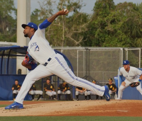Jayson Aquino pitching in Dunedin last month (EDDIE MICHELS PHOTO)