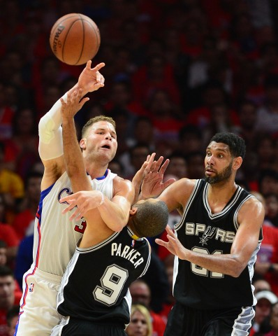 The San Antonio Spurs lost game 7 111-109 in Los Angeles to end the 2014-15 season for the Spurs.  Tony Parker and Tim Duncan tried to stop Blake Griffin and the Clippers. What an amazing 15 year run for San Antonio. (photo USA TODAY Sports  Jayne Kamin-Oncea)