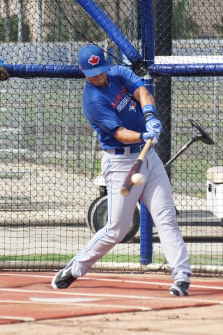 "Toronto Blue Jays second, first round pick (11th overall) in last June's draft Max Pentecost took BP, live BP and caught with a batter in the box for the first time on Thursday at the team's Mattick Complex.  Pentecost said afterwards ""I felt like a ball player again."" (EDDIE MICHELS PHOTO)"