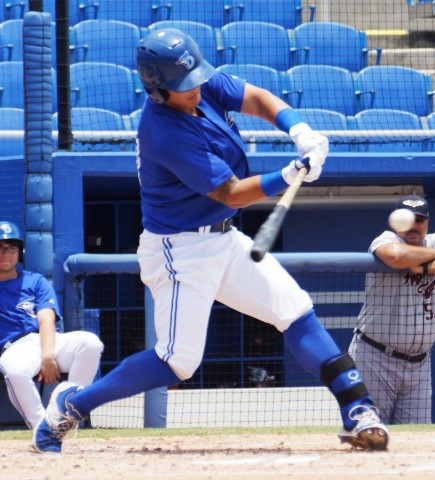 Christian Lopes with one of his two doubles on the day. Lopes was 3 for 5 with 2 doubles, 2 RBI and a run scored in a 7-2 win over the Lakeland Flying Tigers. Dunedin scored all 7 of their runs in the bottom of the first off Lakeland starter locke St, John. (EDDIE MICHELS PHOTO)