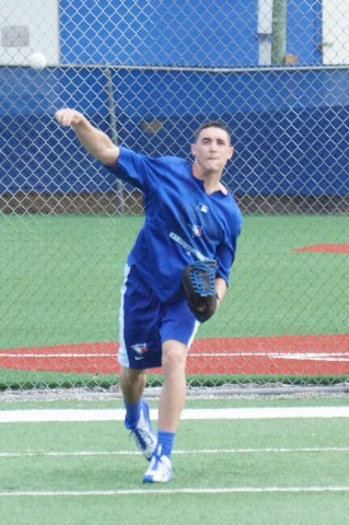 Toronto RHP Aaron Sanchez (lat) threw from 120-feet on Saturday as he approaches his first bullpen session.  According to Sanchez he could throw his first session as soon as the middle of next week. (EDDIE MICHELS PHOTO)