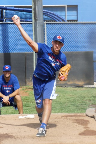 Canadian Tom Robson (right elbow) threw a 30-pitch BP session on Saturday at the Blue Jays Mattick Complex.  Robson could face live hitters as soon as the next couple of weeks. (EDDIE MICHELS PHOTO)