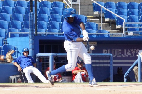 Anthony Alford was 1 for 5.  The hit was a triple as Alford connects in the above photo.  (EDDIE MICHELS PHOTO)
