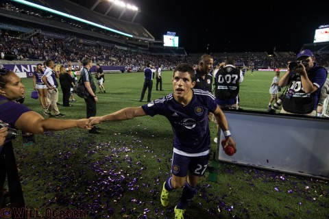 Rafael Ramos celebrates with the fans on his way to the locker room  (photo Will Ogburn)