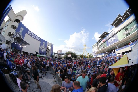 A view outside in Thunder Alley before game five of the 2015 Stanley Cup Final between the Chicago Blackhawks and the Tampa Bay Lightning at Amalie Arena.  (USA TODAY Sports / Kim Klement)