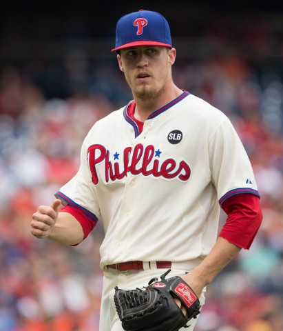 On June 18th, Phillies relief pitcher Ken Giles  reacts after pitching out of the eighth inning against the Baltimore Orioles at Citizens Bank Park. The Phillies won 2-1. (photo USA TODAY Sports / Bill Streicher)