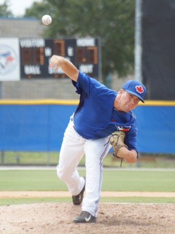 Blue Jays reliever Griffin Glaude allowed just one hit over the final three frames of the Jays 7-1 over the Tigers. Glaude did strike out two earning the save. (EDDIE MICHELS PHOTO)