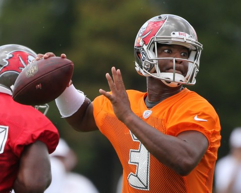 Jun 16, 2015; Tampa Bay, FL, USA; Tampa Bay Buccaneers quarterback Jameis Winston (3) throws the ball during minicamp at One Buc Place. Mandatory Credit: Kim Klement-USA TODAY Sports
