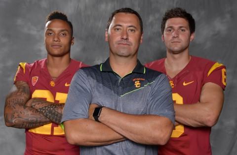 Southern California Trojans linebacker Su'a Cravens (left), coach Steve Sarkisian (center) and quarterback Cody Kessler.  (photo Kirby Lee / USA TODAY Sports)