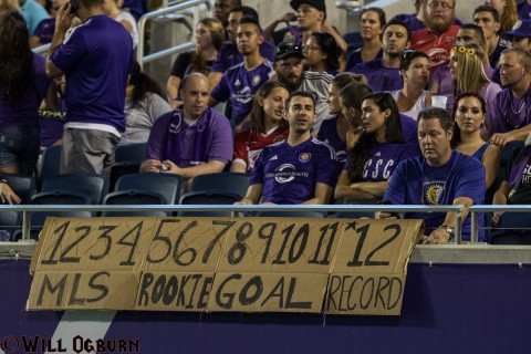 Cyle Larin's rookie goal scoreboard (photo Will Ogburn)