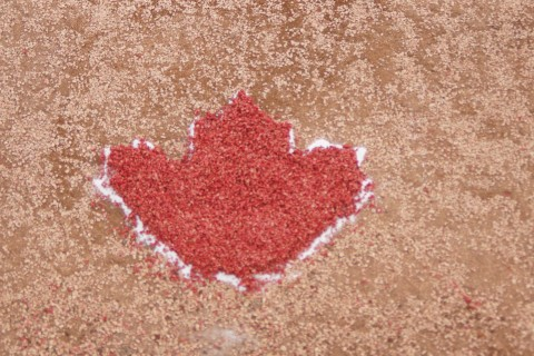 Maple Leaf on mound EDDIE MICHELS PHOTO