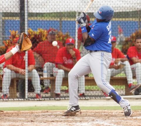 Vladimir Guerrero Jr. gets hit by pitch yesterday (EDDIE MICHELS PHOTO)