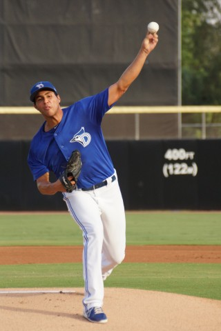 Dunedin starter Alonzo Gonzalez had a rough start on Thursday allowing five run on eight hits while walking two and striking out two against Clearwater. (EDDIE MICHELS PHOTO)