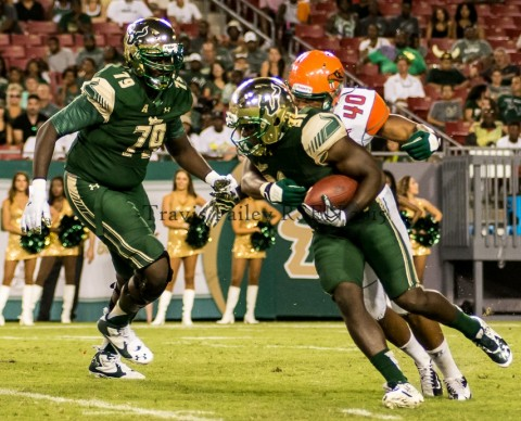 Junior Darius Tice (Miami) put the exclamation mark on USF's opening statement with a 2-yard TD run with 29 seconds remaining. USF's 51 points were the most in a single game under Taggart, who was proud to say the least. (photo Travis Failey / RSEN)
