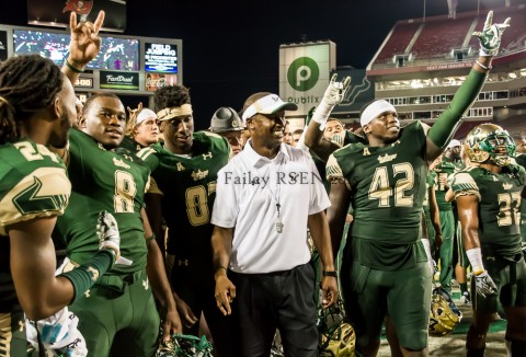 The Bulls gave Willie Taggert a big reason to smile Saturday night. (photo Travis Failey / RSEN)