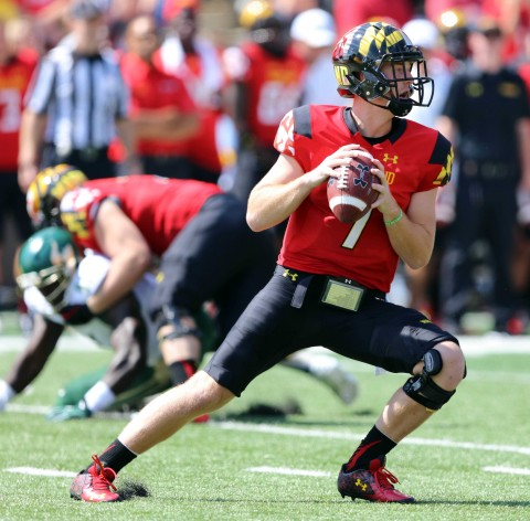 Maryland QB, Caleb Rowe (photo USA TODAY Sports / Mitch Stringer)