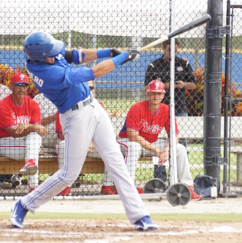 Blue Jays prospect Emilo Guerrero hits a two run homer to left on Monday against the Phillies in an Instructional League game.  Guerrero is the nephew of former Indians and Nationals manager Manny Acta. EDDIE MICHELS PHOTO)