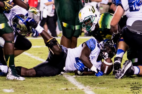 Memphis sophomore Jarvis Cooper gets stripped but the knee was down