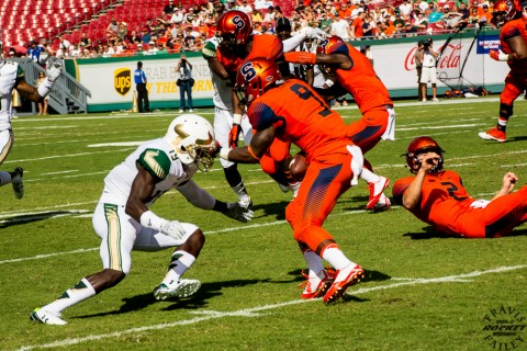 Floridan Brisly Estime takes a pitch form Eric Dungey (photo Travis Failey / RSEN)