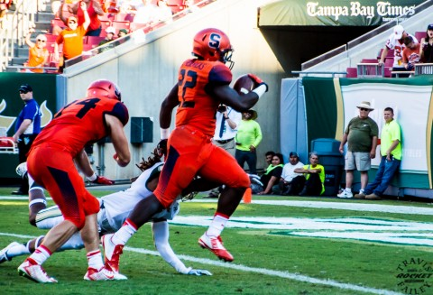 Jordan Fredricks finds the endzone for the Orange(photo Travis Failey / RSEN)