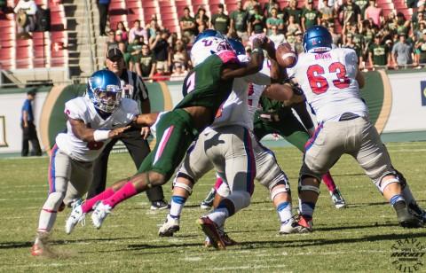 Jamie Byrd sacked SMU quarterback Matt Davis forcing a fumble (photo Travis Failey / RSEN)